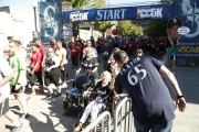James Paxton greeting participants at the start of the Refuse to Abuse 5K.