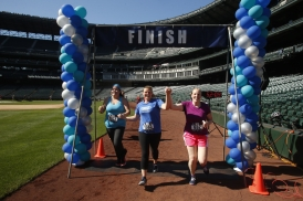 The Refuse to Abuse 5K ended with a lap around the warning track at Safeco Field.