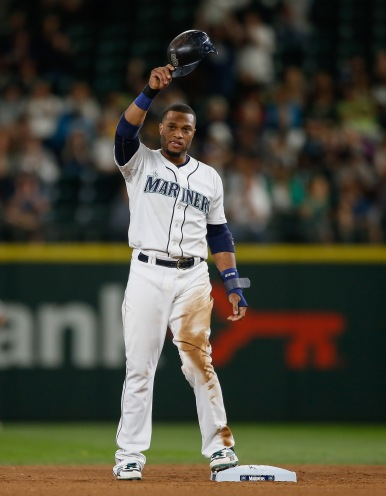 Robinson Cano acknowledges the crowd after hitting his 30th double.