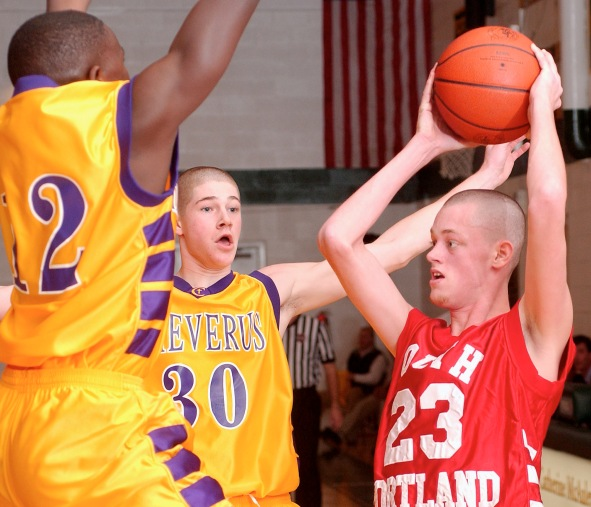 Charlie Furbush looks for an open man while playing basketball as a teenager in Maine. Photo: Portland Press Herald.