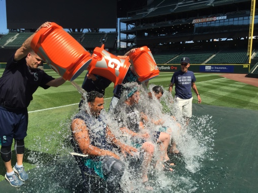 Nelson Cruz, Brad Miller and Mike Zunino taking the ALS Ice Bucket Challenge.