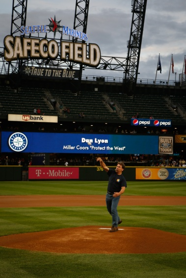 Dan Lyon, father of badly burned U.S. Forest Service firefighter Daniel Lyon, threw out an honorary first pitch before the game. It was a strike.