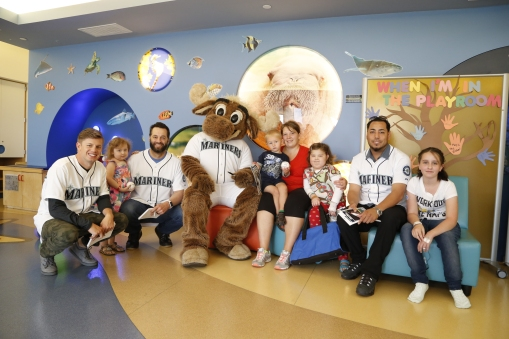 Rob Rasmussen, Joe Beimel, The Mariner Moose and Vidal Nuño visited Mary Bridge Children's Hospital in Tacoma today.