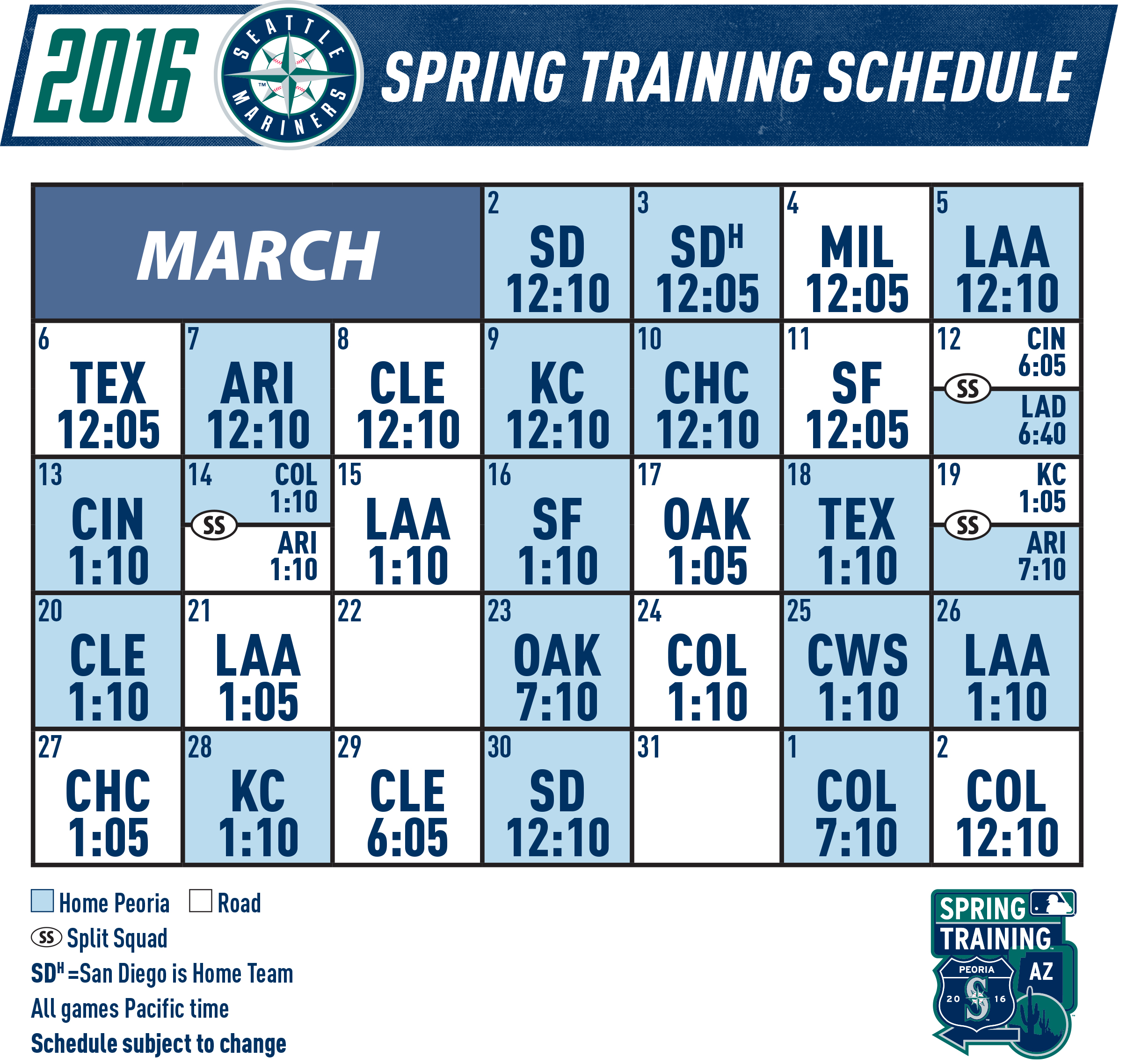 Mariners Announce Spring Training Schedule « From the ...