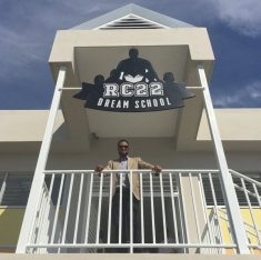 Robinson Canó at the entrance to the RC22 DREAM School in his hometown of San Pedro de Macoris, Dominican Republic.