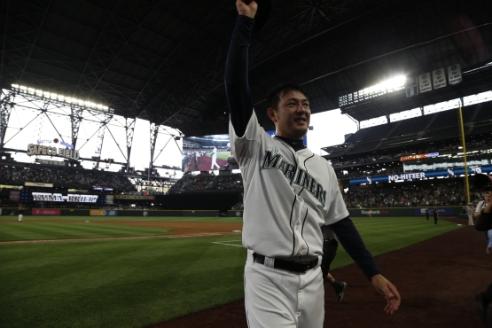 Hisashi Iwakuma after his no-hitter.