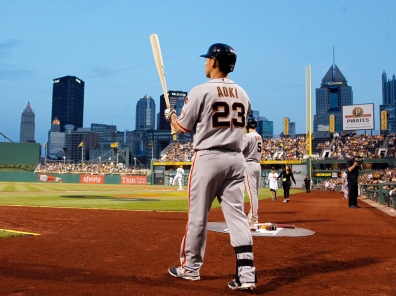 PITTSBURGH, PA - AUGUST 23: Nori Aoki #23 of the San Francisco Giants on deck in the first inning during the game at PNC Park on August 23, 2015 in Pittsburgh, Pennsylvania. (Photo by Justin K. Aller/Getty Images)