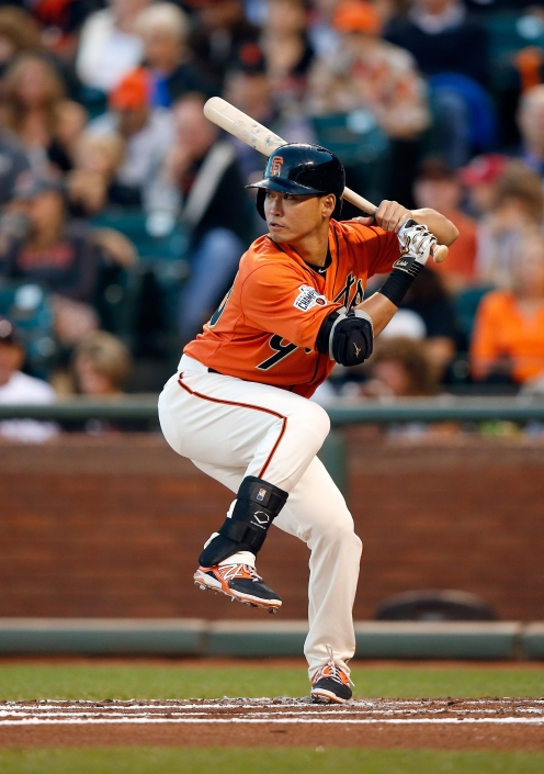 SAN FRANCISCO, CA - AUGUST 28: Nori Aoki #23 of the San Francisco Giants bats against the St. Louis Cardinals at AT&T Park on August 28, 2015 in San Francisco, California. (Photo by Ezra Shaw/Getty Images)