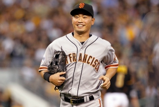 PITTSBURGH, PA - AUGUST 21: Nori Aoki #23 of the San Francisco Giants in the second inning during the game against the Pittsburgh Pirates at PNC Park on August 21, 2015 in Pittsburgh, Pennsylvania. (Photo by Justin K. Aller/Getty Images)