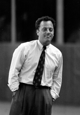 Billy Joel smiles before the first pitch.