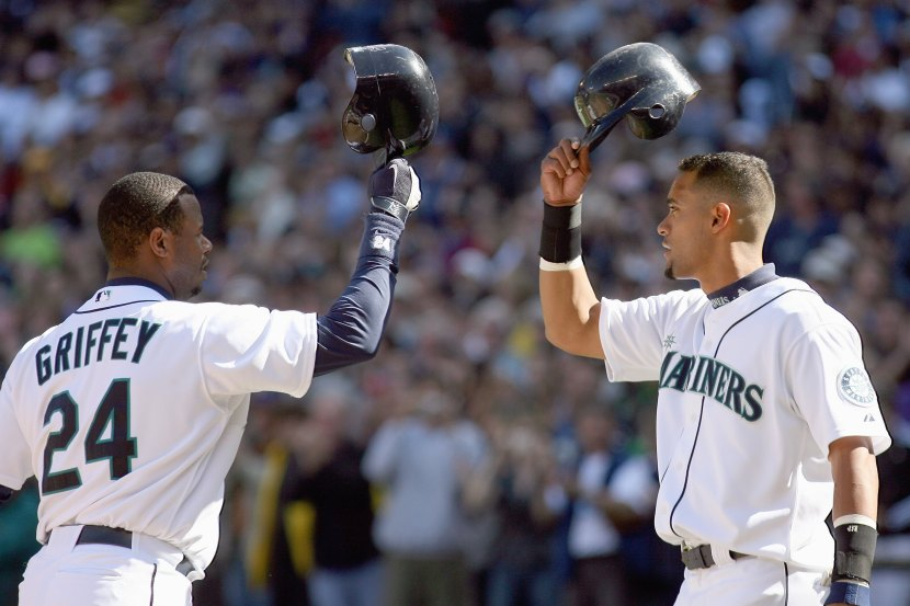 SEATTLE - SEPTEMBER 20: Ken Griffey Jr #24 of the Seattle Mariners greets Franklin Gutierrez #21 during the game against the New York Yankees on September 20, 2009 at Safeco Field in Seattle, Washington. (Photo by Otto Greule Jr/Getty Images)