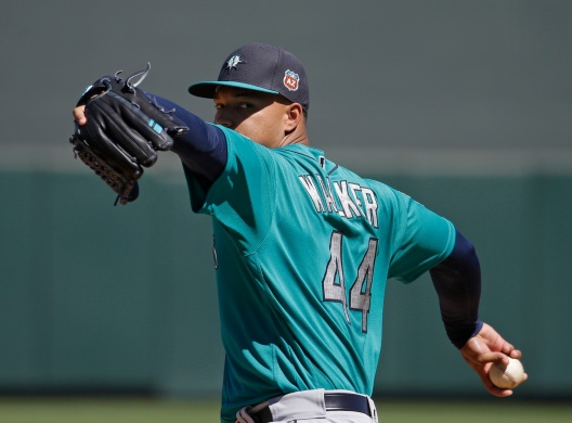 Seattle Mariners' Taijuan Walker throws during the second inning of a spring training baseball game against the Colorado Rockies, Thursday, March 24, 2016, in Scottsdale, Ariz. (AP Photo/Darron Cummings)