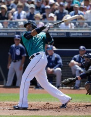 Seattle Mariners' Nelson Cruz during a spring training baseball game against the San Diego Padres in Peoria, Ariz., Wednesday, March 30, 2016. (AP Photo/Jeff Chiu)