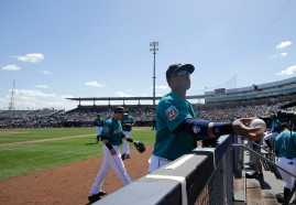 Seattle Mariners second baseman Robinson Cano before a spring training baseball game against the San Diego Padres in Peoria, Ariz., Wednesday, March 30, 2016. (AP Photo/Jeff Chiu)