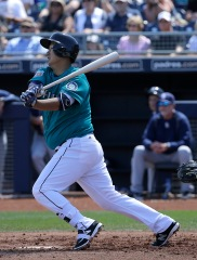 Seattle Mariners' Dae Ho Lee during a spring training baseball game against the San Diego Padres in Peoria, Ariz., Wednesday, March 30, 2016. (AP Photo/Jeff Chiu)