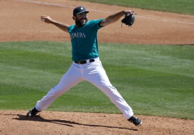 Seattle Mariners relief pitcher Blake Parker against the San Diego Padres during a spring training baseball game in Peoria, Ariz., Wednesday, March 30, 2016. (AP Photo/Jeff Chiu)
