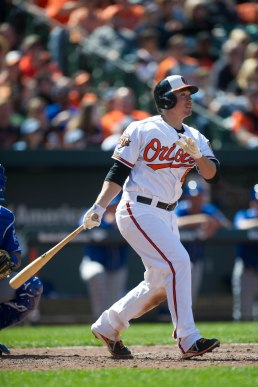 BALTIMORE, MD - APRIL 27: Steve Clevenger #45 of the Baltimore Orioles bats during the game against the Kansas City Royals at Oriole Park at Camden Yards on Sunday, April 27, 2014 in Baltimore, Maryland. (Photo by Rob Tringali/MLB Photos via Getty Images)