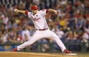PHILADELPHIA, PA - SEPTEMBER 9: Justin De Fratus #30 of the Philadelphia Phillies pitches in the top of the seventh inning against the Pittsburgh Pirates on September 9, 2014 at Citizens Bank Park in Philadelphia, Pennsylvania. The Phillies defeated the Pirates 4-3. (Photo by Mitchell Leff/Getty Images)