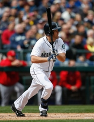 SEATTLE, WA - APRIL 06: Seth Smith #7 of the Seattle Mariners doubles in the first inning against the Los Angeles Angels of Anaheim in the home opener at Safeco Field on April 6, 2015 in Seattle, Washington. The Mariners defeated the Angels 4-1. (Photo by Otto Greule Jr/Getty Images)