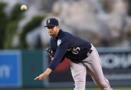 ANAHEIM, CA - MAY 05: James Paxton #65 of the Seattle Mariners throws a pitch against the Los Angeles Angels of Anaheim at Angel Stadium of Anaheim on May 5, 2015 in Anaheim, California. (Photo by Stephen Dunn/Getty Images)