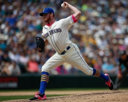 SEATTLE, WA - MAY 10: Relief pitcher Charlie Furbush #41 of the Seattle Mariners pitches against the Oakland Athletics in the eighth inning at Safeco Field on May 10, 2015 in Seattle, Washington. The Mariners defeated the Athletics 4-3. (Photo by Otto Greule Jr/Getty Images)