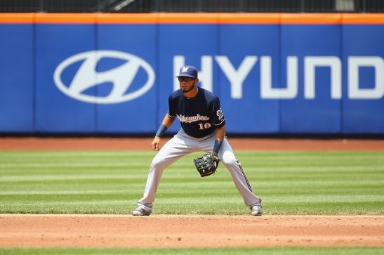 NEW YORK, NY - MAY 17: Luis Sardinas #10 of the Milwaukee Brewers in action against the New York Mets during their game at Citi Field on May 17, 2015 in New York City. (Photo by Al Bello/Getty Images)