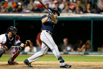 CLEVELAND, OH - JUNE 9: Seth Smith #7 of the Seattle Mariners drives in Dustin Ackley #13 of the Seattle Mariners with single during the top of the eight inning during the game against the Cleveland Indians at Progressive Field on June 9, 2015 in Cleveland, Ohio. Seattle defeated Cleveland 3-2. (Photo by Kirk Irwin/Getty Images)