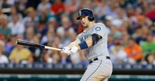 DETROIT, MI - JULY 20: Mike Zunino #3 of the Seattle Mariners singles to left field scoring Austin Jackson #16 (not in photo) during the sixth inning of the game against the Detroit Tigers on July 20, 2015 at Comerica Park in Detroit, Michigan. (Photo by Leon Halip/Getty Images)