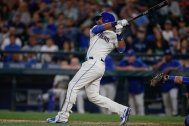 SEATTLE, WA - JULY 26: Franklin Gutierrez #30 of the Seattle Mariners hits a walk-off home run to defeat the Toronto Blue Jays 6-5 in ten innings at Safeco Field on July 26, 2015 in Seattle, Washington. (Photo by Otto Greule Jr/Getty Images)