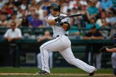 SEATTLE, WA - AUGUST 08: Jesus Montero #63 of the Seattle Mariners hits an RBI single in the fourth inning against the Texas Rangers at Safeco Field on August 8, 2015 in Seattle, Washington. (Photo by Otto Greule Jr/Getty Images)