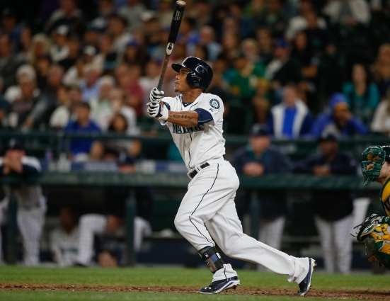 SEATTLE, WA - AUGUST 25: Ketel Marte #4 of the Seattle Mariners triples against the Oakland Athletics in the sixth inning at Safeco Field on August 25, 2015 in Seattle, Washington. (Photo by Otto Greule Jr/Getty Images)