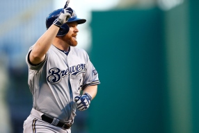 PITTSBURGH, PA - SEPTEMBER 11: Adam Lind #24 of the Milwaukee Brewers reacts after hitting a two-run home run in the first inning against the Pittsburgh Pirates during the game at PNC Park on September 11, 2015 in Pittsburgh, Pennsylvania. (Photo by Jared Wickerham/Getty Images)