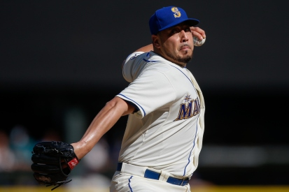 SEATTLE, WA - OCTOBER 04: Starting pitcher Vidal Nuno #38 of the Seattle Mariners pitches against the Oakland Athletics in the first inning at Safeco Field on October 4, 2015 in Seattle, Washington. (Photo by Otto Greule Jr/Getty Images)