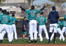 PEORIA, AZ - FEBRUARY 20: Hisashi Iwakuma #18 of the Seattle Mariners participates in a spring training workout at Peoria Sports Complex on February 20, 2016 in Peoria, Arizona. (Photo by Norm Hall/Getty Images)