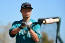 PEORIA, AZ - FEBRUARY 25: Outfielder Nori Aoki #8 of the Seattle Mariners as he participates in batting practice at a spring training workout at Peoria Sports Complex on February 25, 2016 in Peoria, Arizona. (Photo by Jennifer Stewart/Getty Images)