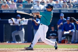 PEORIA, AZ - MARCH 10: Norichika Aoki #8 of the Seattle Mariners bats against the Chicago Cubs during the second inning of the spring training game at Peoria Stadium on March 10, 2016 in Peoria, Arizona. (Photo by Christian Petersen/Getty Images)