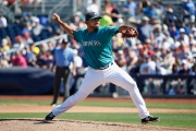 PEORIA, AZ - MARCH 10: Releif pitcher Joaquin Benoit #53 of the Seattle Mariners pitches against the Chicago Cubs during the spring training game at Peoria Stadium on March 10, 2016 in Peoria, Arizona. (Photo by Christian Petersen/Getty Images)