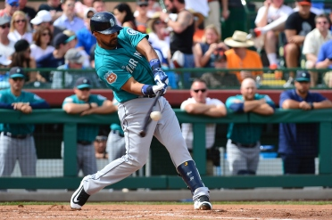 SCOTTSDALE, AZ - MARCH 11: Franklin Gutierrez #21 of the Seattle Mariners hits an RBI double in the third inning of the spring training game against the San Francisco Giants at Scottsdale Stadium on March 11, 2016 in Scottsdale, Arizona. (Photo by Jennifer Stewart/Getty Images)