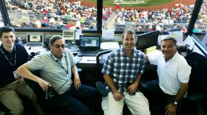 Willie Bloomquist with the radio gang.