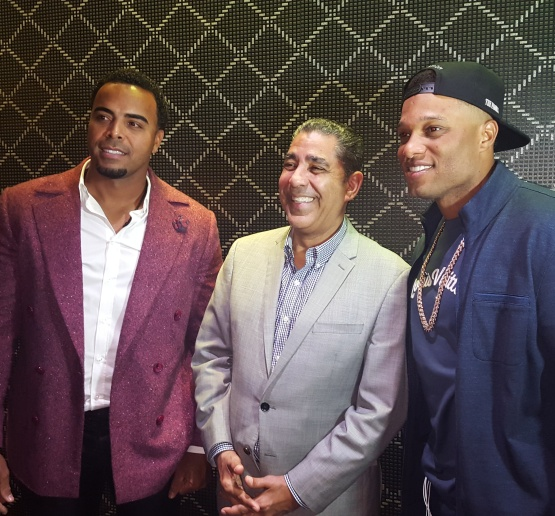 Nelson Cruz, New York State Senator Adriano Espaillat and Robinson Canó at the Boomstick & Friends event in New York to honor Cruz for his philanthropic efforts.