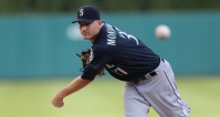 DETROIT, MI - JULY 22: Mike Montgomery #37 of the Seattle Mariners warms up prior to the start of the game against the Detroit Tigers on July 22, 2015 at Comerica Park in Detroit, Michigan. (Photo by Leon Halip/Getty Images)