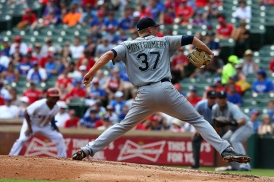 ARLINGTON, TX - AUGUST 19: Mike Montgomery #37 of the Seattle Mariners pitches in the third inning during a game against the Texas Rangers at Globe Life Park in Arlington on August 19, 2015 in Arlington, Texas. (Photo by Sarah Crabill/Getty Images)