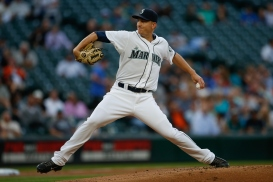 SEATTLE, WA - AUGUST 25: Starting pitcher Mike Montgomery #37 of the Seattle Mariners pitches against the Oakland Athletics in the first inning at Safeco Field on August 25, 2015 in Seattle, Washington. (Photo by Otto Greule Jr/Getty Images)