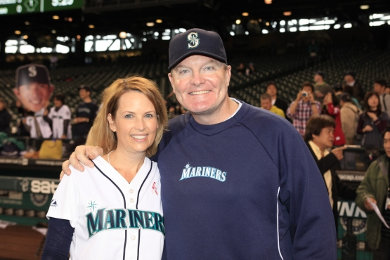Mariners Honorary Bat Girl Nancy Haunty met with former Mariners Manager Eric Wedge before throwing out the ceremonial first pitch on May 21, 2012.
