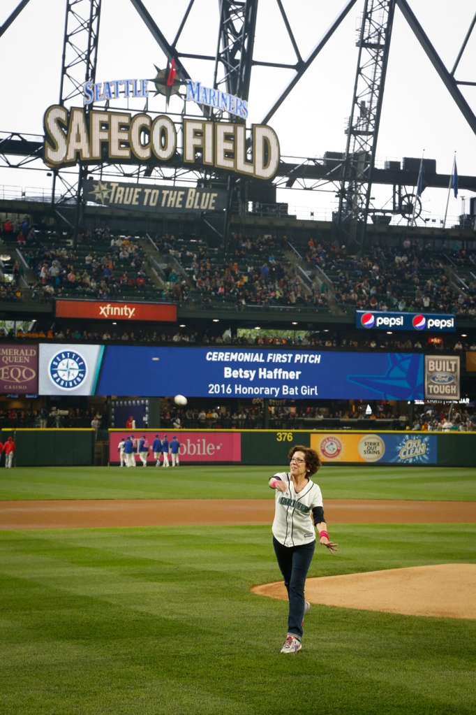 Honorary Bat Girl Betsy Haffner of Kennewick threw out the ceremonial first pitch before Sunday's Mariners vs. Angels game.