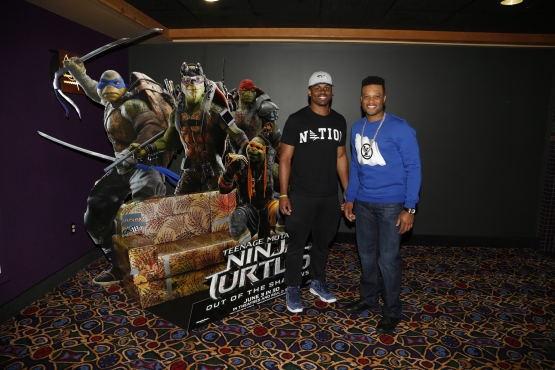 Seahawks draft pick C.J. Prosise and Robinson Canó at the sneak preview of the new Teenage Mutant Ninja Turtles Movie for Boys & Girls Club members and Seattle Children's Hospital patients.