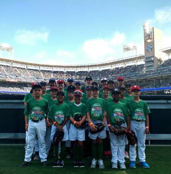 Kaiea Higa (third row, second from right), of Maple Valley, was the winner of the 11/12 Year Old Softball Division of the National Pitch, Hit & Run skills competition on Monday at Petco Park.