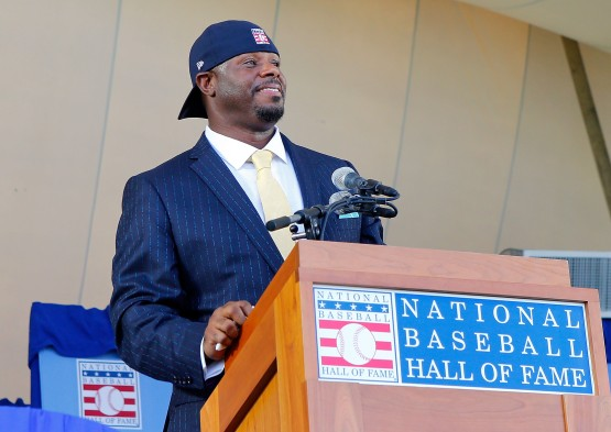 Junior capped his Hall of Fame speech in familiar fashion – with his hat on backwards.